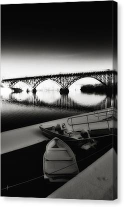 Strawberry Mansion Bridge In Winter Canvas Print by Bill Cannon