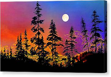 Strawberry Moon Sunset Canvas Print by Hanne Lore Koehler