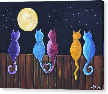 Stray Cats In Moonlight Canvas Print by Diana Haronis