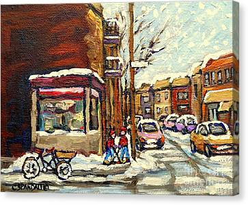 Street Hockey Corner Verdun Depanneur Urban Winter Paintings Best Authentic Original Montreal Art  Canvas Print by Carole Spandau