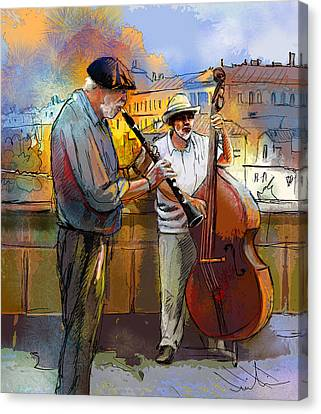 Street Musicians In Prague In The Czech Republic 01 Canvas Print by Miki De Goodaboom