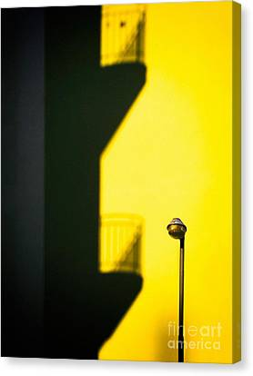 Streetlamp And Balconies Shadow Canvas Print by Silvia Ganora
