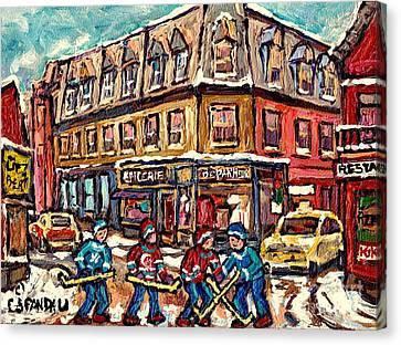 Streets Of Montreal Verdun Depanneur Winter Scene Paintings Canadian Hockey Art Carole Spandau Canvas Print by Carole Spandau