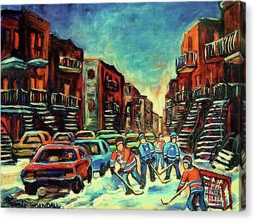 Streetscenes Of Montreal Hockey Paintings By Montreal Cityscene Specialist Carole Spandau Canvas Print by Carole Spandau