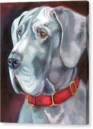 Strength And Loyalty - Great Dane Canvas Print by Lyn Cook