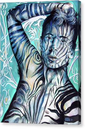 Strength In Blue Stripes, Zebra Boy #6 Canvas Print by Rene Capone
