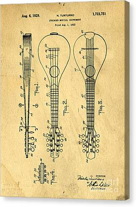 Stringed Musicial Instrument Patent Art Blueprint Drawing Canvas Print by Edward Fielding