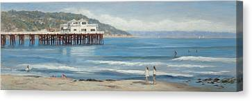 Strolling At The Malibu Pier Canvas Print by Tina Obrien
