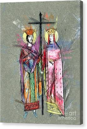 Sts. Constantine And Helen Canvas Print by Daliana Pacuraru