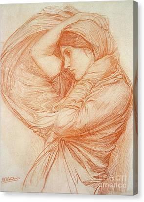 Study For Boreas Canvas Print by John William Waterhouse