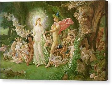 Study For The Quarrel Of Oberon And Titania Canvas Print by Joseph Noel Paton