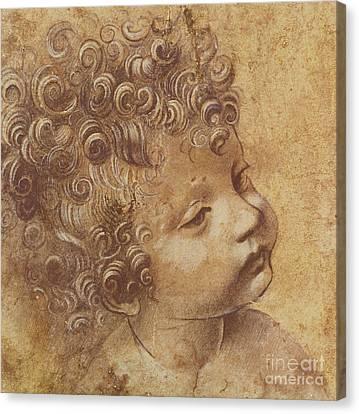 Study Of A Child's Head Canvas Print by Leonardo Da Vinci
