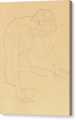 Study Of A Female Nude Canvas Print by Gustav Klimt
