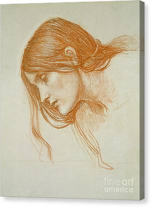 Study Of A Girls Head Canvas Print by John William Waterhouse