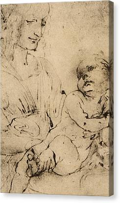Study Of A Madonna And Child Canvas Print by Leonardo Da Vinci