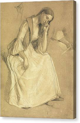 Study Of A Seated Girl Canvas Print by Charles Cope West