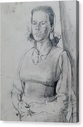 Study Of A Seated Girl. Canvas Print by Harry Robertson