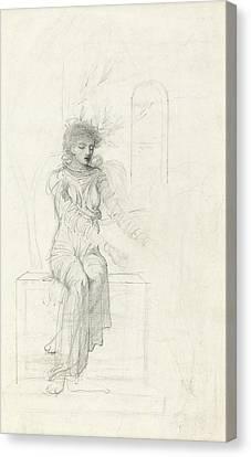 Study Of A Seated Woman Canvas Print by John Melhuish Strudwick