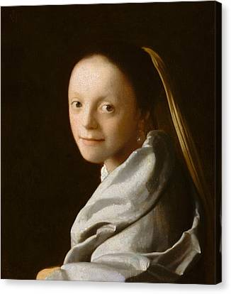 Study Of A Young Woman Canvas Print by Jan Vermeer