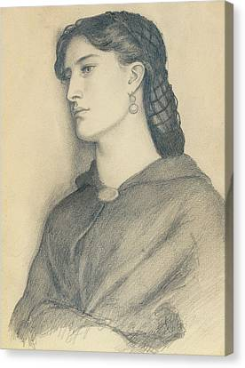 Study Of Aggie Manetti  Canvas Print by Dante Gabriel Charles Rossetti
