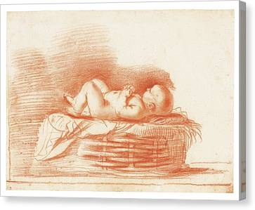 Study Of An Infant In A Basket Canvas Print by MotionAge Designs