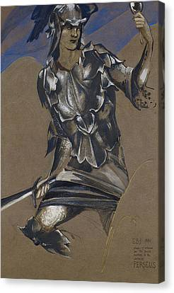 Study Of Perseus In Armour For The Finding Of Medusa Canvas Print by Edward Burne-Jones