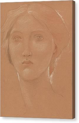 Study Of The Head Of Margaret Burne Jones Canvas Print by Edward Coley Burne-Jones