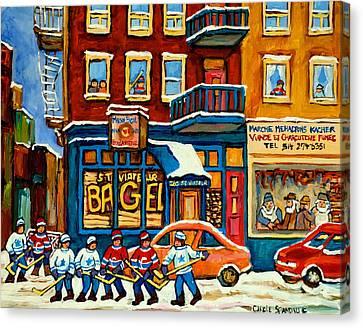 St.viateur Bagel Hockey Montreal Canvas Print by Carole Spandau