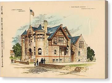 Sub Police Station. Chestnut Hill Pa. 1892 Canvas Print by John Windrim