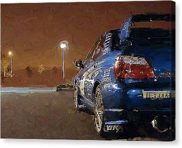 Subaru Impreza At Night Canvas Print by David Lambertino