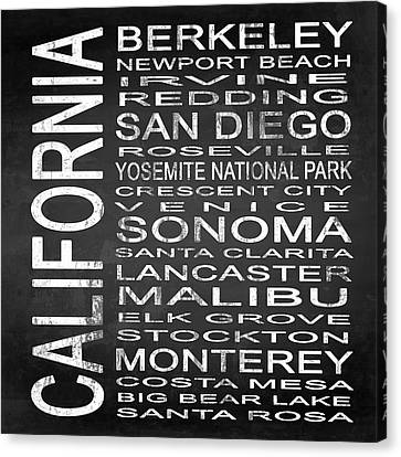 Subway California State 3 Square Canvas Print by Melissa Smith