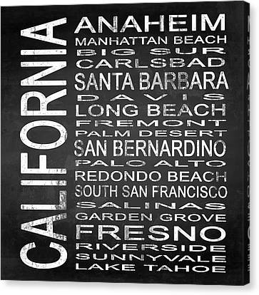 Subway California State 4 Square Canvas Print by Melissa Smith