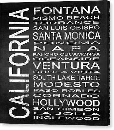 Subway California State 5 Square Canvas Print by Melissa Smith