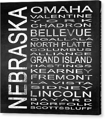 Subway Nebraska State Square Canvas Print by Melissa Smith