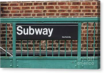 Subway Sign In New York City Canvas Print by Antonio Gravante