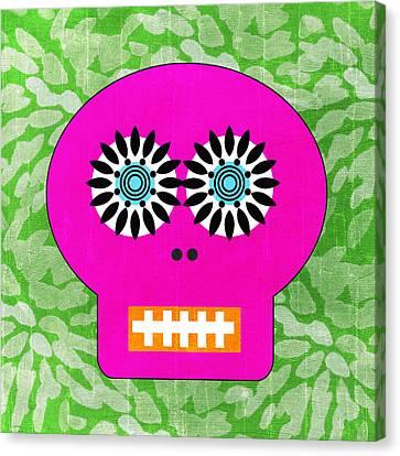 Sugar Skull Pink And Green Canvas Print by Linda Woods