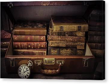 Suitcase Full Of Books Canvas Print by Garry Gay