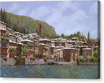 Sul Lago Di Como Canvas Print by Guido Borelli