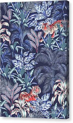 Sumatran Tiger, Blue Canvas Print by Jacqueline Colley