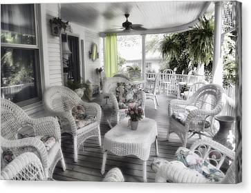 Summer Day On The Victorian Veranda Canvas Print by Thomas Woolworth