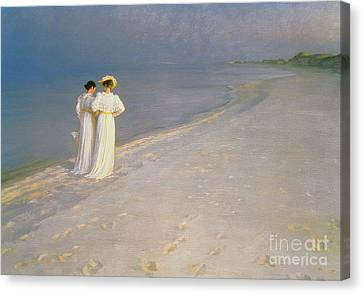 Summer Evening On The Skagen Southern Beach With Anna Ancher And Marie Kroyer Canvas Print by Peder Severin Kroyer