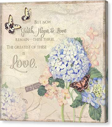 Summer Memories - Blue Hydrangea N Butterflies Faith Hope And Love Canvas Print by Audrey Jeanne Roberts
