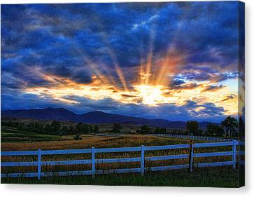Sun Beams In The Sky At Sunset Canvas Print by James BO  Insogna