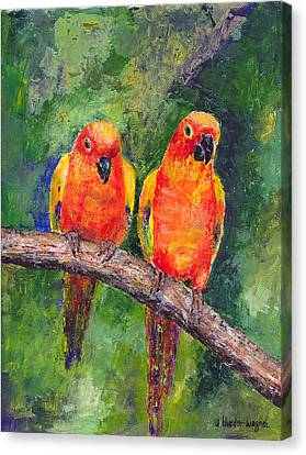 Sun Parakeets Canvas Print by Arline Wagner