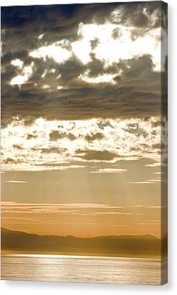 Sun Rays And Clouds Over Santa Cruz Canvas Print by Rich Reid