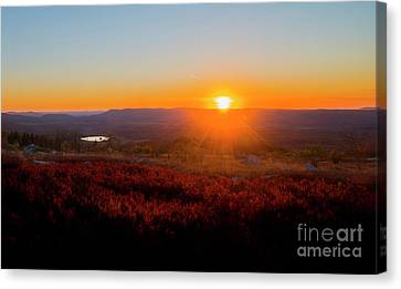 Sun Setting Over Canaan Valley Canvas Print by Dan Friend
