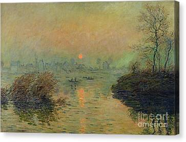 Sun Setting Over The Seine At Lavacourt Canvas Print by Claude Monet