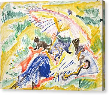 Sunbathing Canvas Print by Ernst Ludwig Kirchner