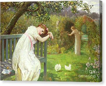 Sunday Afternoon - Ladies In A Garden Canvas Print by English School