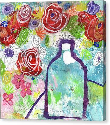 Sunday Market Flowers 2- Art By Linda Woods Canvas Print by Linda Woods